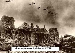 Allied bombers over Kroll Opera. WWII